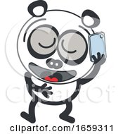 Cartoon Panda Talking On A Phone
