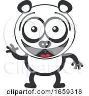 Cartoon Waving Panda by Zooco #COLLC1659318-0152