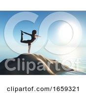 3D Female In A Yoga Pose On A Sand Dune In The Ocean
