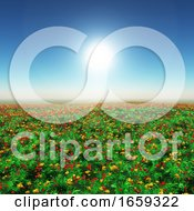3D Landscape Of A Poppy Field