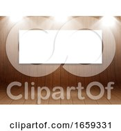 3D Mock Up Design With Blank Canvas In Curved Wooden Room Display