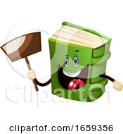 Cartoon Book Character Is Holding Transparent Sign