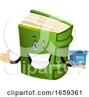 Cartoon Book Character Is Holding Discount Box