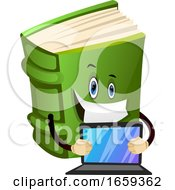 Cartoon Book Character Is Holding Lap Top