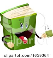 Cartoon Book Character Is Holding Mug