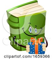 Cartoon Book Character Is Holding Present