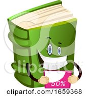Cartoon Book Character Is Showing Discount Sign