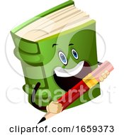 Cartoon Book Character Is Holding Pencil