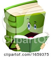 Cartoon Book Character Is Reading A Book