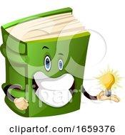 Cartoon Book Character Is Holding A Light Bulb