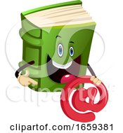 Cartoon Book Character Is Holding EMail Address Sign