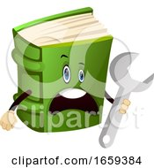 Cartoon Book Character Is Holding Wrench Tool