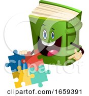 Cartoon Book Character Is Holding Puzzle