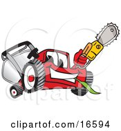 Clipart Picture Of A Red Lawn Mower Mascot Cartoon Character Waving A Saw by Toons4Biz