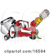 Red Lawn Mower Mascot Cartoon Character Waving A Saw