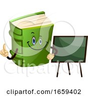 Cartoon Book Character With School Blackboard