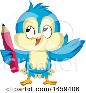 Blue Bird Holds A Red Pencil