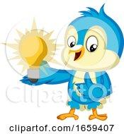 Blue Bird Is Holding A Light Bulb by Morphart Creations