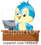 Blue Bird Is Sitting At Computer Desk