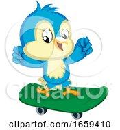 Blue Bird On The Green Skateboard by Morphart Creations