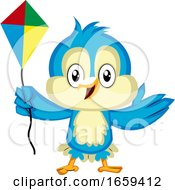 Poster, Art Print Of Blue Bird Is Holding A Kite
