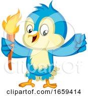 Blue Bird Holds A Torch by Morphart Creations