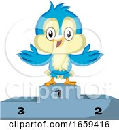 Blue Bird Is Standing On The Winner Stand