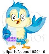 Blue Bird Is Holding Milk