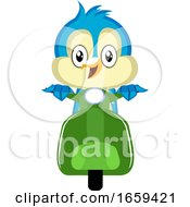 Blue Bird Is On A Green Motorbike by Morphart Creations