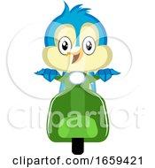Blue Bird Is On A Green Motorbike