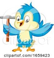 Blue Bird Is Holding A Hammer