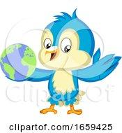 Blue Bird Holds A Globe by Morphart Creations