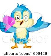 Blue Bird Is Holding A Pink Diamond