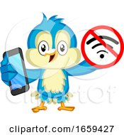 Blue Bird With Phone And No Wifi Signal by Morphart Creations