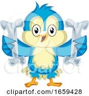 Blue Bird Is Holding Two Bones