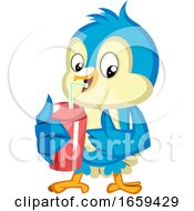 Blue Bird Drinks From Red Cup