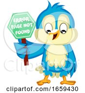Blue Bird Holds A Error Page Not Found Sign