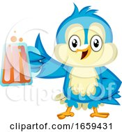 Blue Bird Is Holding A Beer Glass
