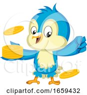 Blue Bird Is Holding A Pile Of Nickels