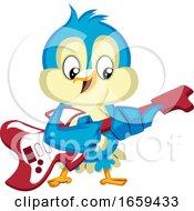 Blue Bird Is Playing Guitar