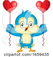 Poster, Art Print Of Blue Bird Is Holding Heart Balloons