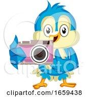 Blue Bird Holds A Camera