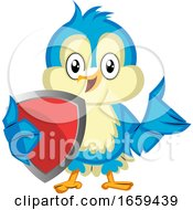 Blue Bird Holds A Red Shield