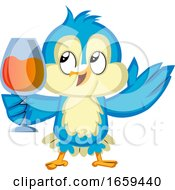 Blue Bird Is Holding A Wine Glass