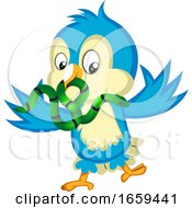 Blue Bird Holds A Snake