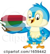 Blue Bird Is Holding A Pile Of Books