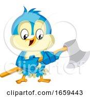 Blue Bird Is Holding An Axe