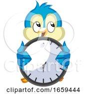 Blue Bird Holds A Clock