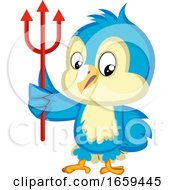 Blue Bird Is Holding A Trident