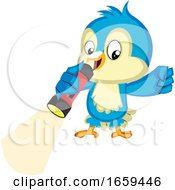 Blue Bird Holds A Flashlight